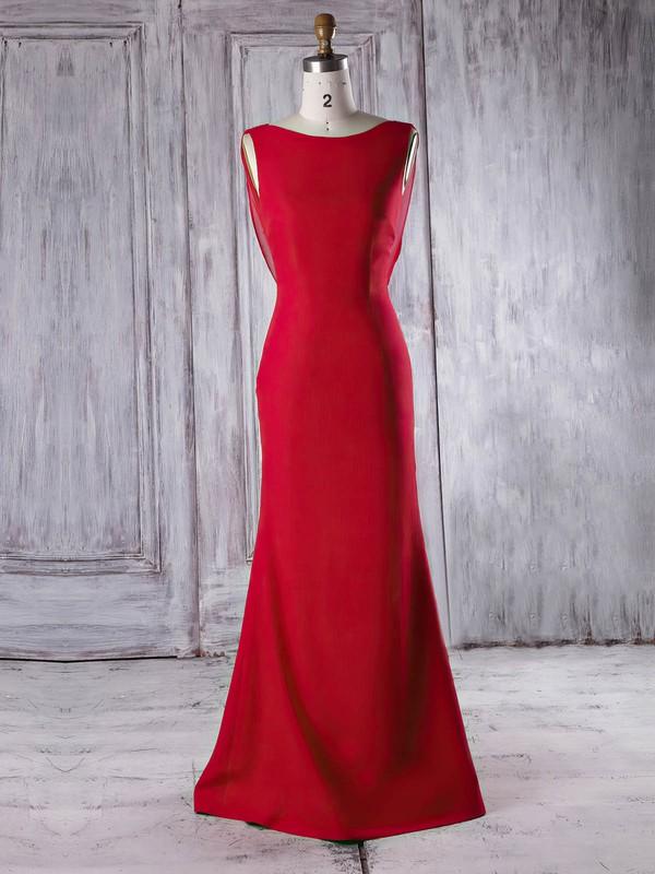 Chiffon|Silk-like Satin Scoop Neck Sweep Train Trumpet/Mermaid with Ruffles Bridesmaid Dresses #PWD01013340