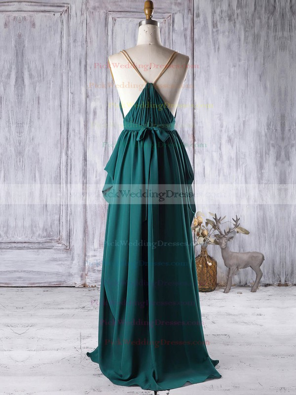 Chiffon V-neck Floor-length A-line with Sashes / Ribbons Bridesmaid Dresses #PWD01013341