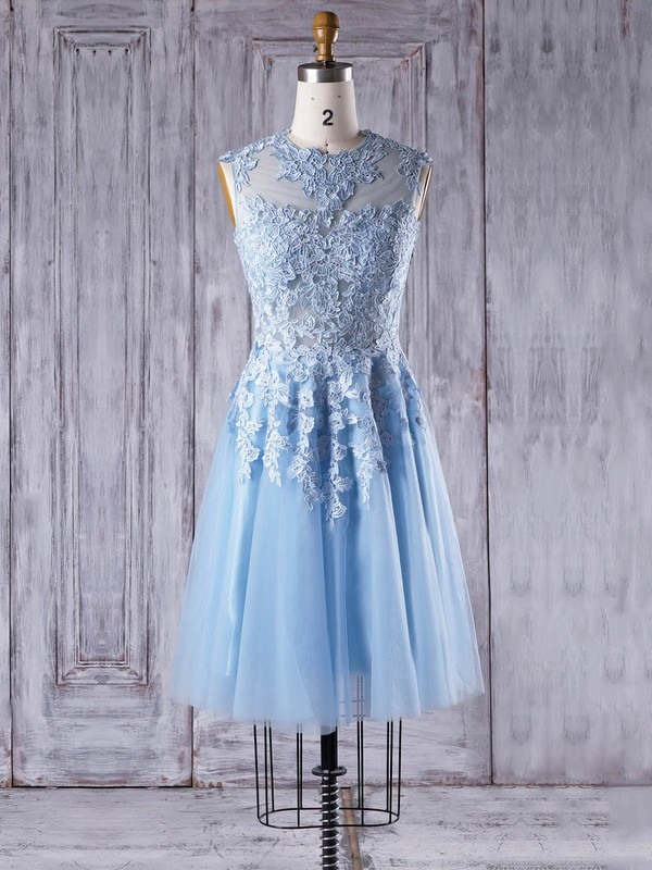 Tulle Scoop Neck Short/Mini A-line with Appliques Lace Bridesmaid Dresses #PWD01013342