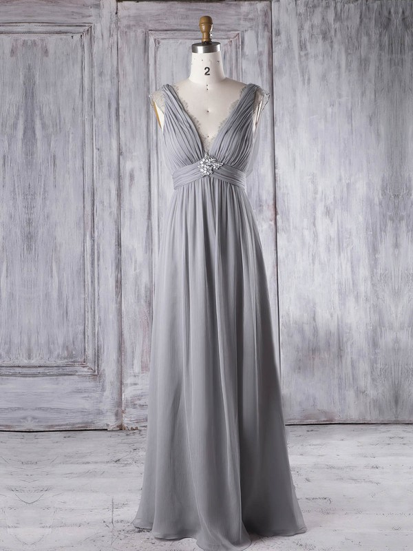 Lace|Chiffon V-neck Floor-length Empire with Beading Bridesmaid Dresses #PWD01013343