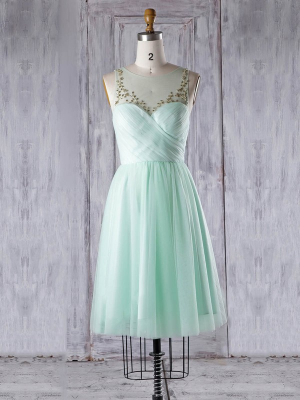 Tulle Scoop Neck Knee-length A-line with Beading Bridesmaid Dresses #PWD01013344