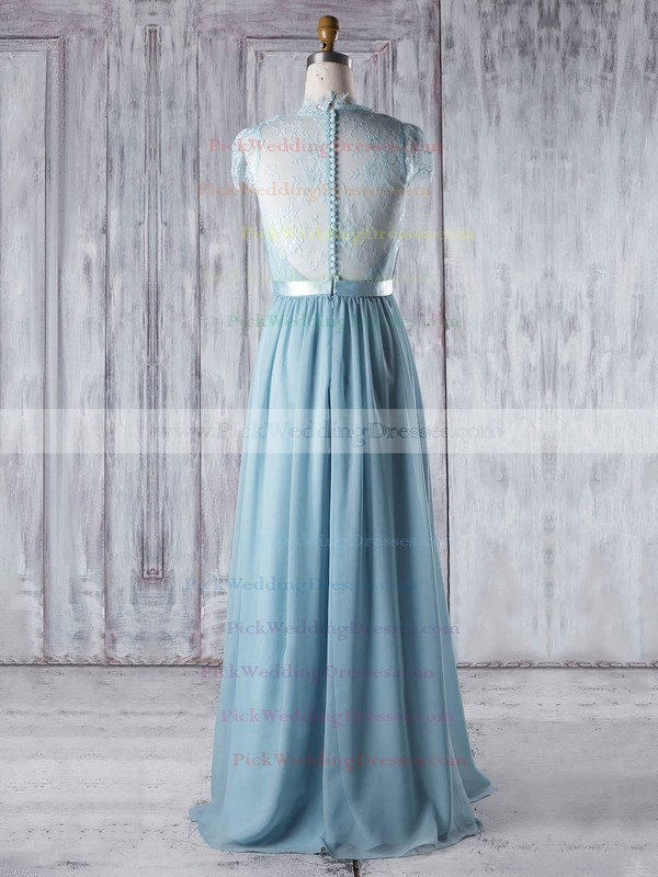 Lace|Chiffon V-neck Floor-length A-line with Sashes / Ribbons Bridesmaid Dresses #PWD01013345
