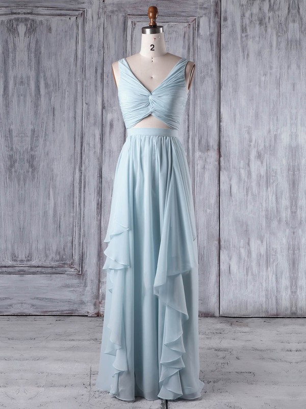 Chiffon One Shoulder Floor-length A-line with Criss Cross Bridesmaid Dresses #PWD01013346