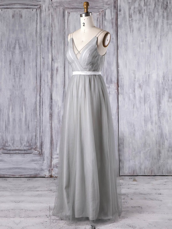 Tulle V-neck Floor-length A-line with Sashes / Ribbons Bridesmaid Dresses #PWD01013347