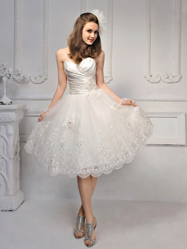 Princess Knee-length Lace Satin Draped Sweetheart Wedding Dresses #PWD00017014