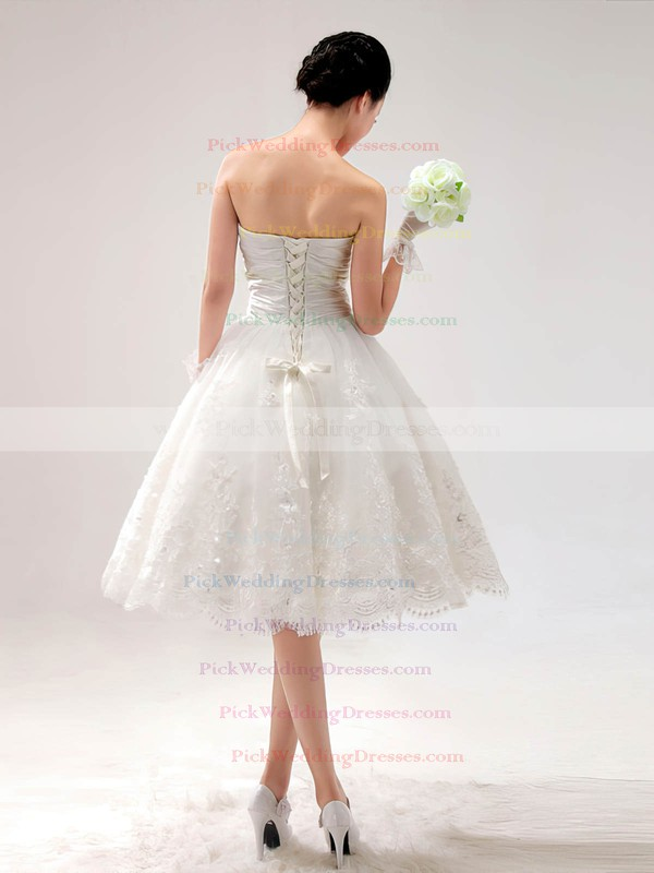 Princess Ivory Satin Lace Sweetheart with Lace-up Knee-length Wedding Dress #PWD00017014