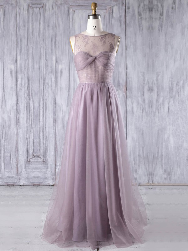 Lace|Tulle Scoop Neck Floor-length A-line with Criss Cross Bridesmaid Dresses #PWD01013350