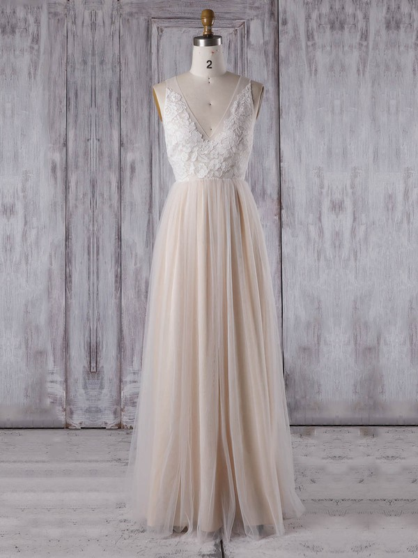 Tulle V-neck Floor-length A-line with Appliques Lace Bridesmaid Dresses #PWD01013351