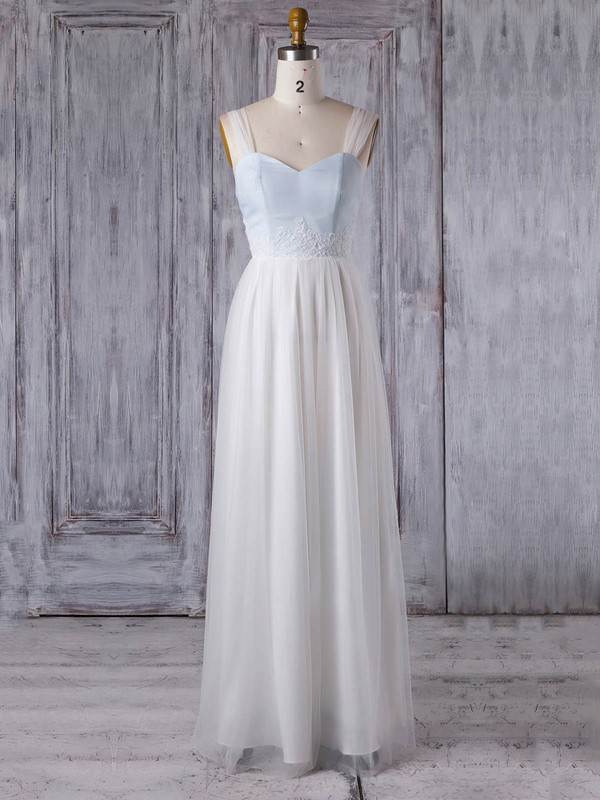 Tulle Sweetheart Floor-length A-line with Appliques Lace Bridesmaid Dresses #PWD01013352
