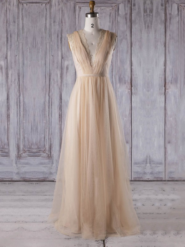 Lace|Tulle V-neck Floor-length A-line with Sashes / Ribbons Bridesmaid Dresses #PWD01013353