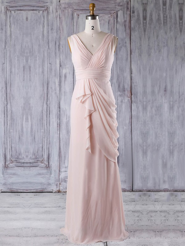Chiffon V-neck Floor-length Sheath/Column with Ruffles Bridesmaid Dresses #PWD01013356