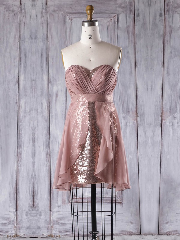 Chiffon|Sequined Sweetheart Short/Mini Empire with Ruffles Bridesmaid Dresses #PWD01013357