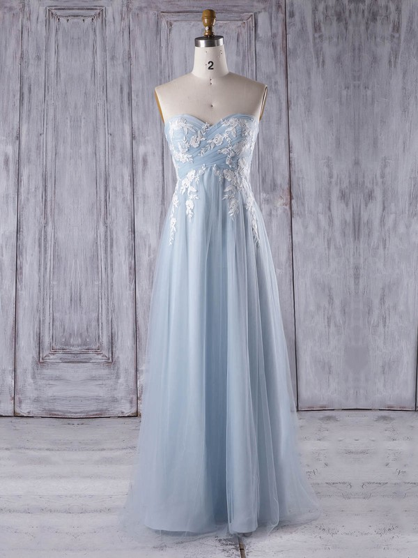Tulle Sweetheart Floor-length Empire with Appliques Lace Bridesmaid Dresses #PWD01013358