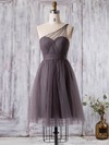 Tulle One Shoulder Short/Mini A-line with Ruffles Bridesmaid Dresses #PWD01013360