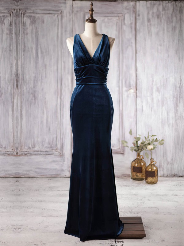 Velvet V-neck Floor-length Trumpet/Mermaid with Ruffles Bridesmaid Dresses #PWD01013363
