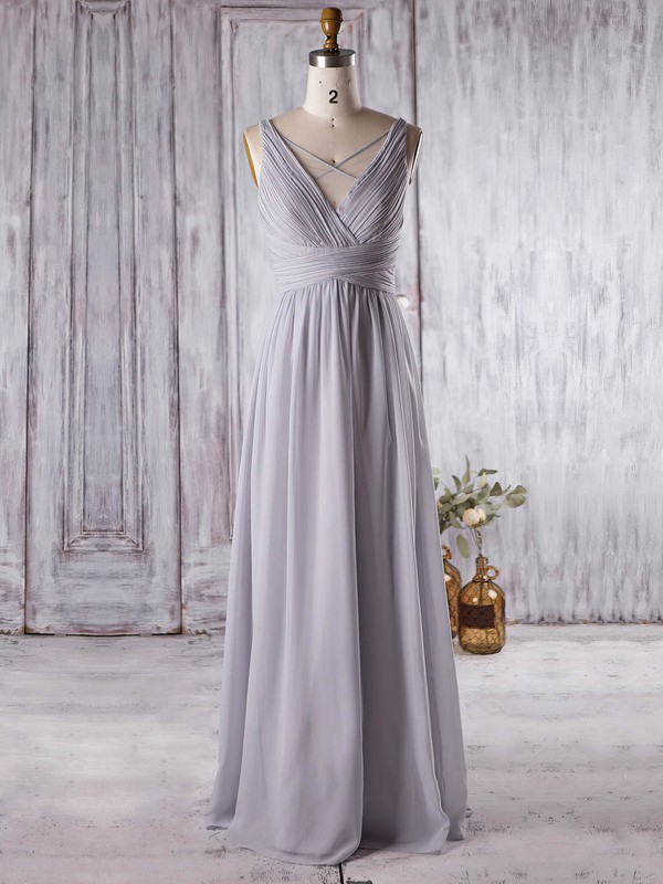 Chiffon V-neck Floor-length A-line with Ruffles Bridesmaid Dresses #PWD01013364