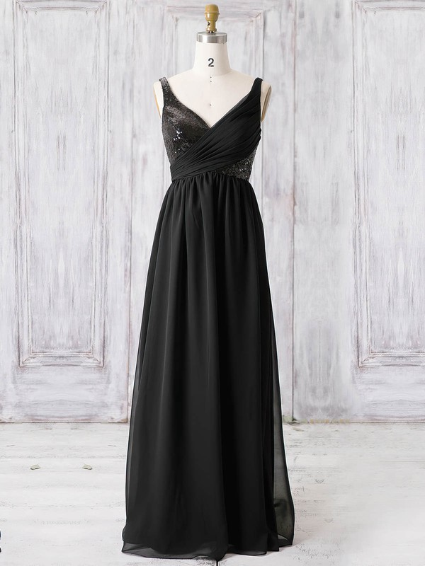 Chiffon V-neck Floor-length A-line with Sequins Bridesmaid Dresses #PWD01013365