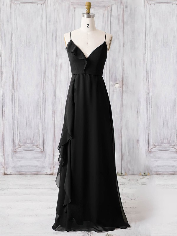 Chiffon V-neck Floor-length A-line with Ruffles Bridesmaid Dresses #PWD01013366