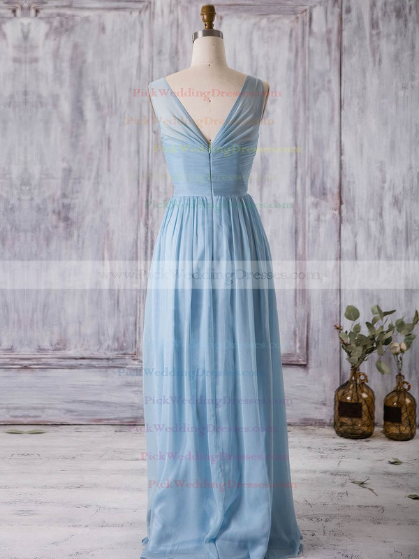 Chiffon V-neck Floor-length A-line with Ruffles Bridesmaid Dresses #PWD01013368