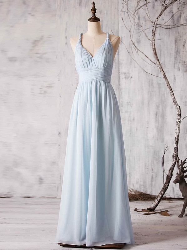 Chiffon V-neck Floor-length A-line with Ruffles Bridesmaid Dresses #PWD01013372