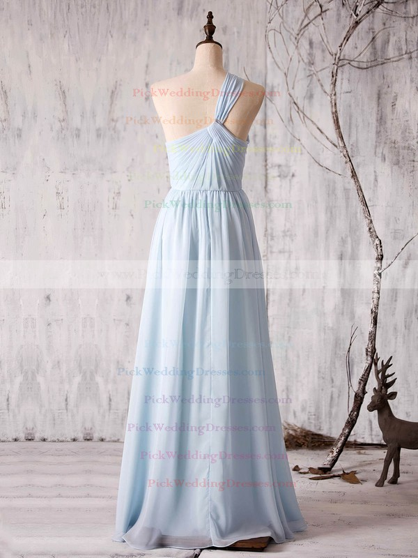 Chiffon One Shoulder Floor-length A-line with Ruffles Bridesmaid Dresses #PWD01013373