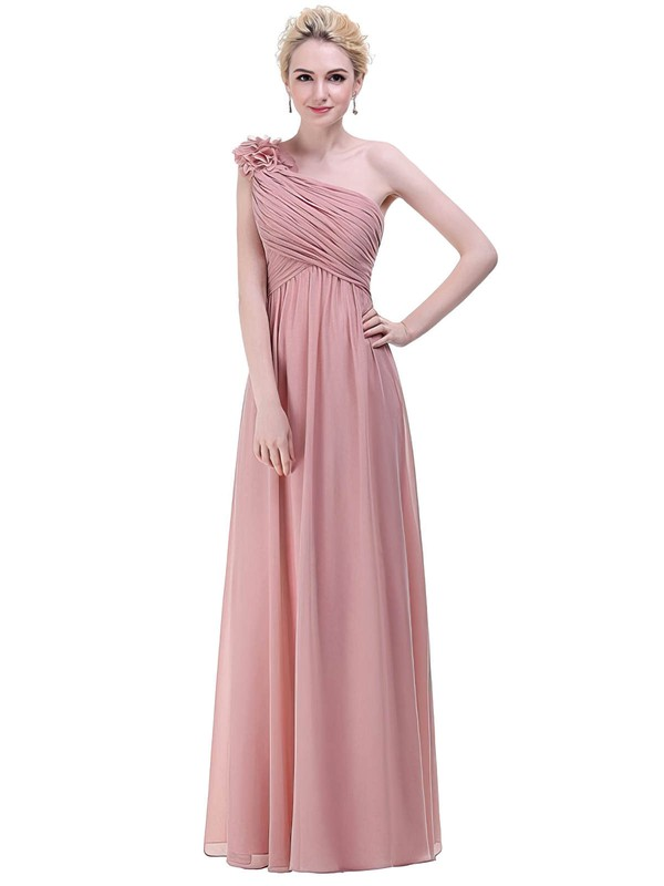 Chiffon One Shoulder Floor-length Empire with Flower(s) Bridesmaid Dresses #PWD01013374