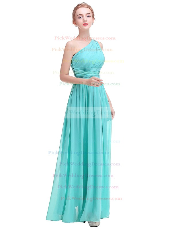 Chiffon One Shoulder Ankle-length A-line with Beading Bridesmaid Dresses #PWD01013375