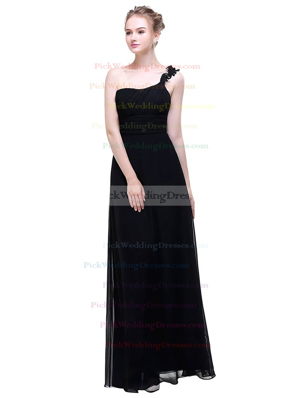Chiffon One Shoulder Floor-length A-line with Flower(s) Bridesmaid Dresses #PWD01013376