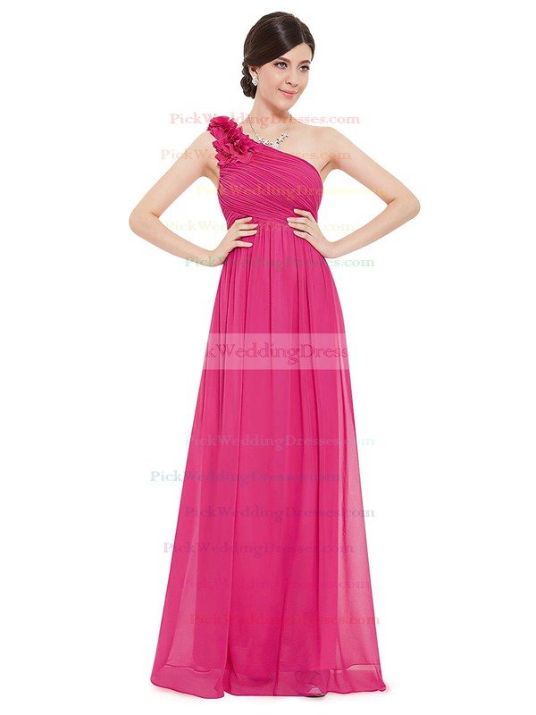 Chiffon One Shoulder Ankle-length Empire with Flower(s) Bridesmaid Dresses #PWD01013377
