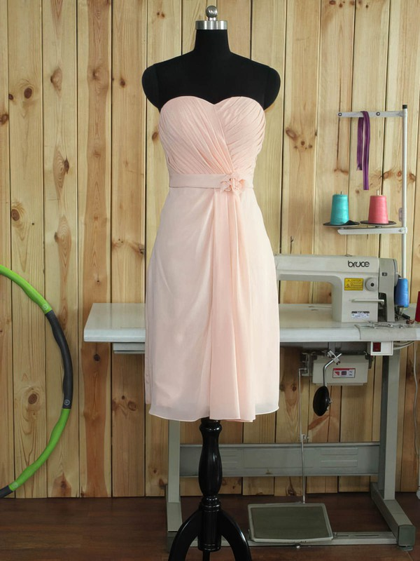 Chiffon Sweetheart Short/Mini Sheath/Column with Sashes / Ribbons Bridesmaid Dresses #PWD01013379