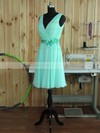 Chiffon V-neck Short/Mini A-line with Sashes / Ribbons Bridesmaid Dresses #PWD01013380