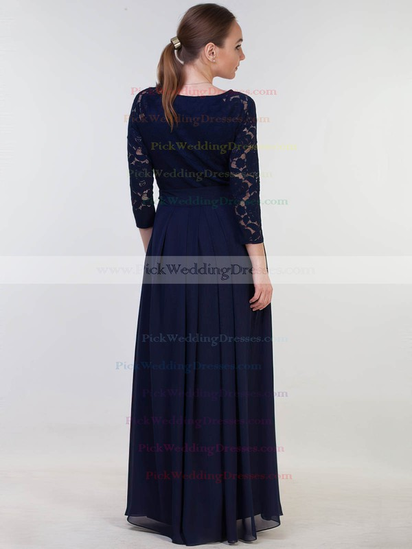 Lace|Chiffon Scoop Neck Floor-length A-line with Sashes / Ribbons Bridesmaid Dresses #PWD01013381
