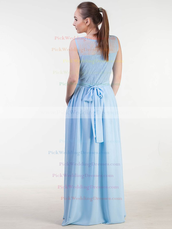Lace|Chiffon Scoop Neck Floor-length A-line with Sashes / Ribbons Bridesmaid Dresses #PWD01013383