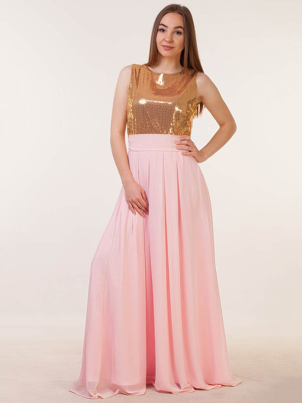 Chiffon Sequined Scoop Neck Floor-length A-line with Sashes / Ribbons Bridesmaid Dresses #PWD01013386