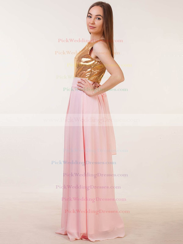 Chiffon|Sequined Scoop Neck Floor-length A-line with Sashes / Ribbons Bridesmaid Dresses #PWD01013386
