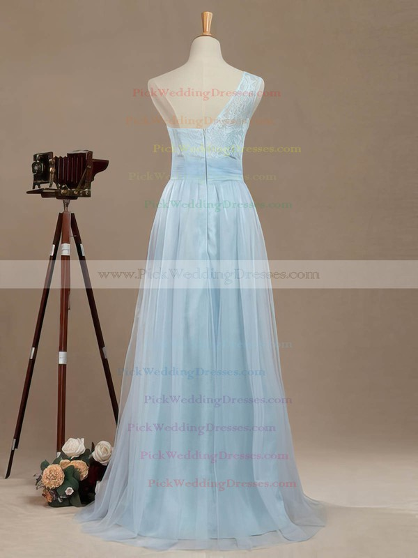 Tulle One Shoulder Floor-length A-line with Lace Bridesmaid Dresses #PWD01013390