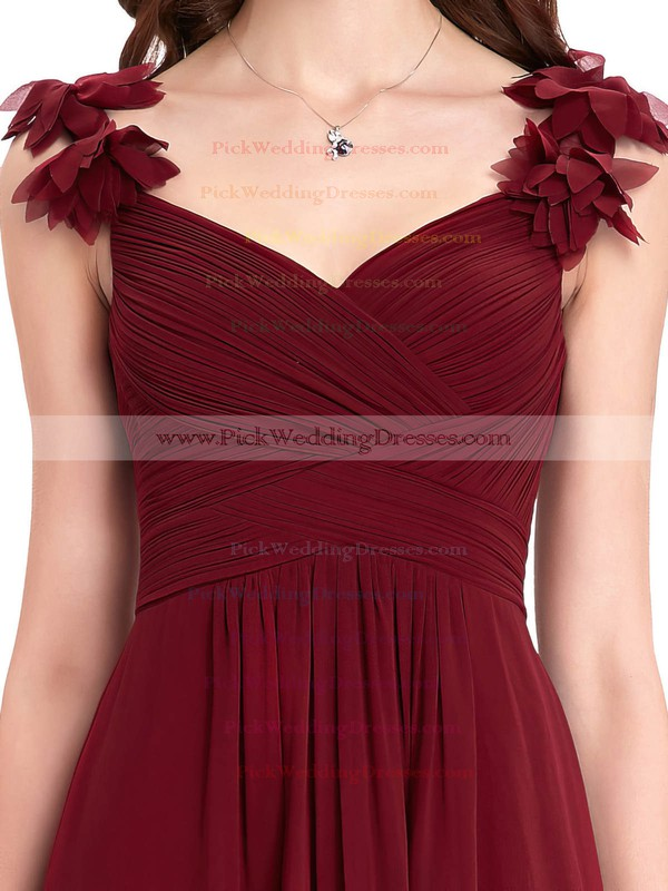 Chiffon V-neck Floor-length A-line with Flower(s) Bridesmaid Dresses #PWD01013393