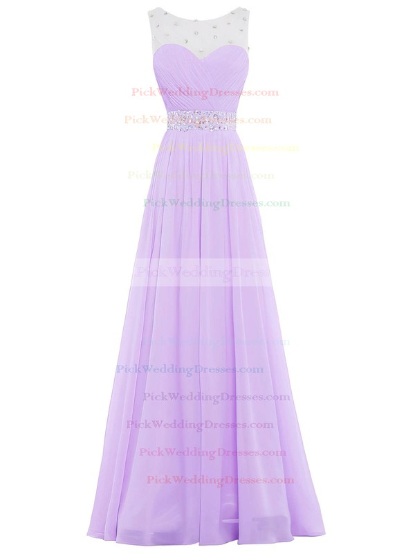 Tulle|Chiffon Scoop Neck Sweep Train A-line with Crystal Detailing Bridesmaid Dresses #PWD01013394