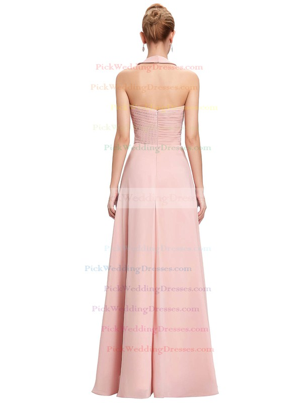 Chiffon Halter Floor-length A-line with Flower(s) Bridesmaid Dresses #PWD01013396
