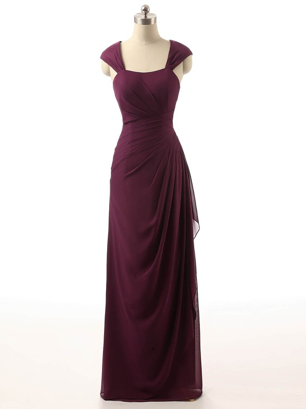 Chiffon Square Neckline Chapel Train Sheath/Column with Ruffles Bridesmaid Dresses #PWD01013398
