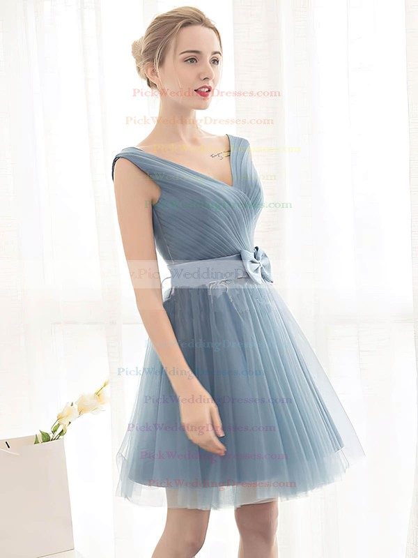 Tulle V-neck Short/Mini A-line with Sashes / Ribbons Bridesmaid Dresses #PWD01013399