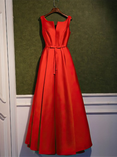 Satin Scoop Neck Ankle-length A-line with Sashes / Ribbons Bridesmaid Dresses #PWD01013400