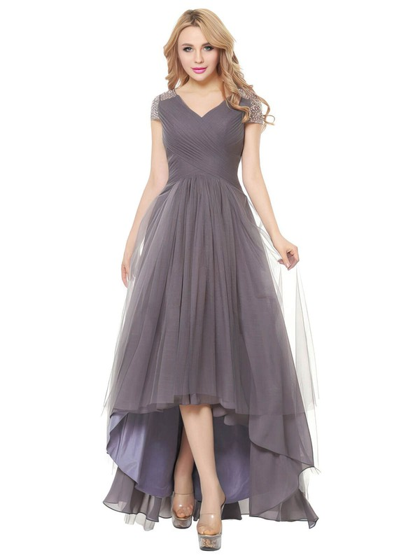 Tulle V-neck Asymmetrical A-line with Beading Bridesmaid Dresses #PWD01013401