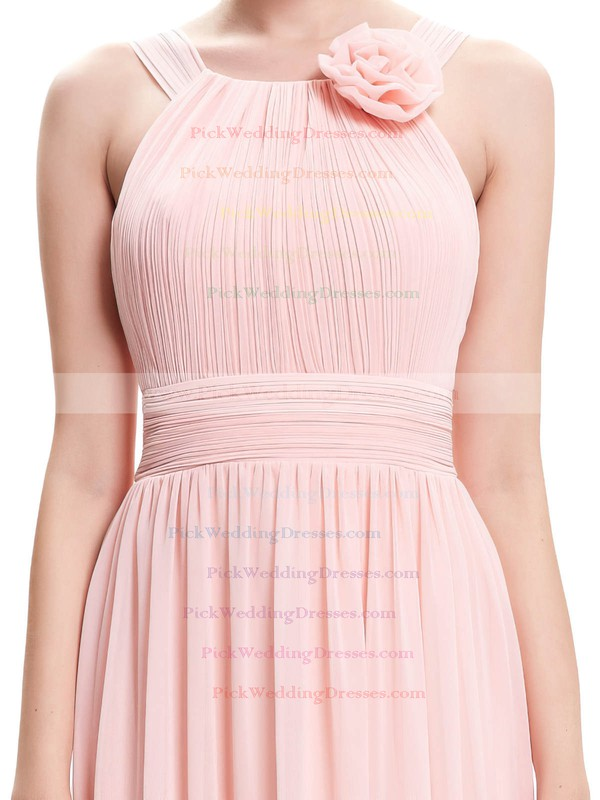 Chiffon Scoop Neck Floor-length A-line with Pleats Bridesmaid Dresses #PWD01013402