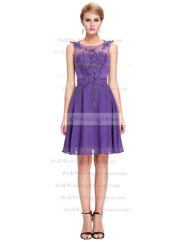 Chiffon|Tulle Scoop Neck Short/Mini A-line with Appliques Lace Bridesmaid Dresses #PWD01013404