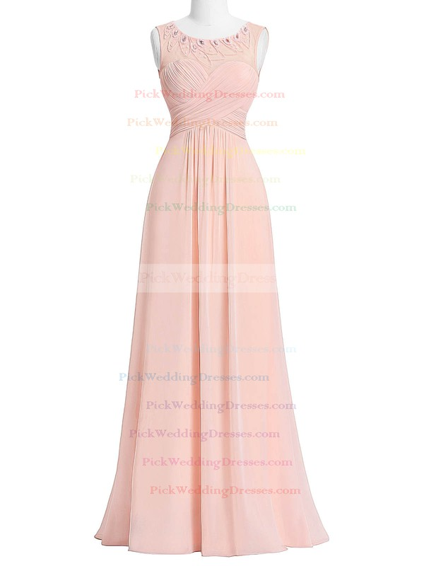 Chiffon|Tulle Scoop Neck Floor-length A-line with Beading Bridesmaid Dresses #PWD01013405