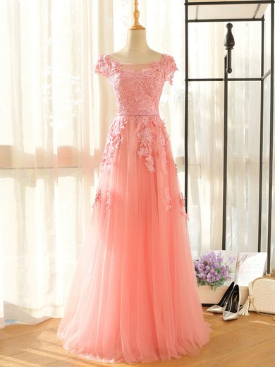 Tulle Scoop Neck Floor-length A-line with Appliques Lace Bridesmaid Dresses #PWD01013407