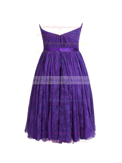 Lace Sweetheart Short/Mini A-line with Sashes / Ribbons Bridesmaid Dresses #PWD01013410