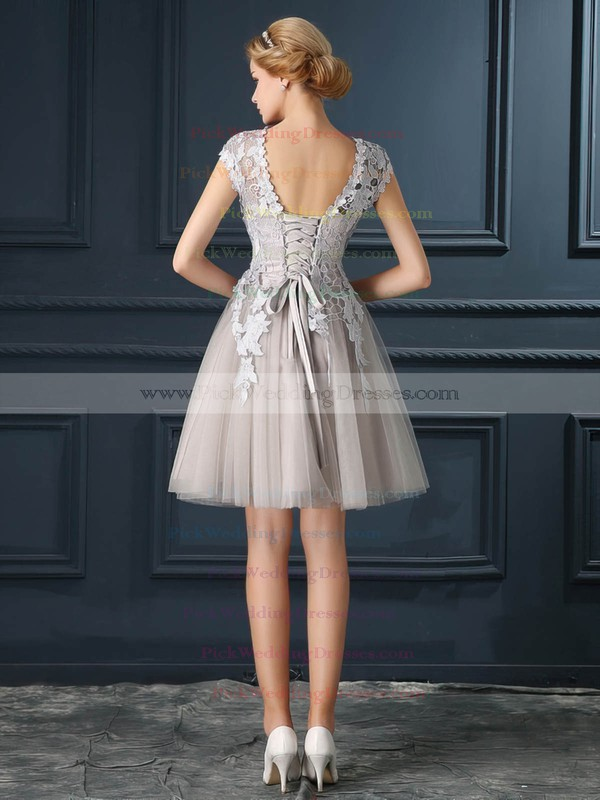 Tulle Scoop Neck Short/Mini A-line with Appliques Lace Bridesmaid Dresses #PWD01013413