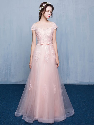 Tulle Scoop Neck Floor-length A-line with Appliques Lace Bridesmaid Dresses #PWD01013414